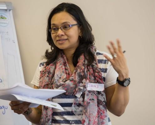 Woman giving workshop input
